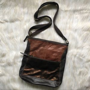 The Sak Shimmer Brown Leather Shoulder Bag